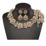 Holylove Tawny Retro Style Statement Necklace Bracelet Earrings for Women Novelty Jewelry Set 1 with Gift Box-8041BTawny Set