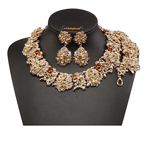 Holylove Tawny Retro Style Statement Necklace Bracelet Earrings for Women Novelty Jewelry Set 1 with Gift Box-8041BTawny Set (Formal Jewelry)