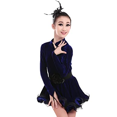 d1047e4ec Amazon.com  KINDOYO Girls Children Latin Dance Costume Slim Velvet ...
