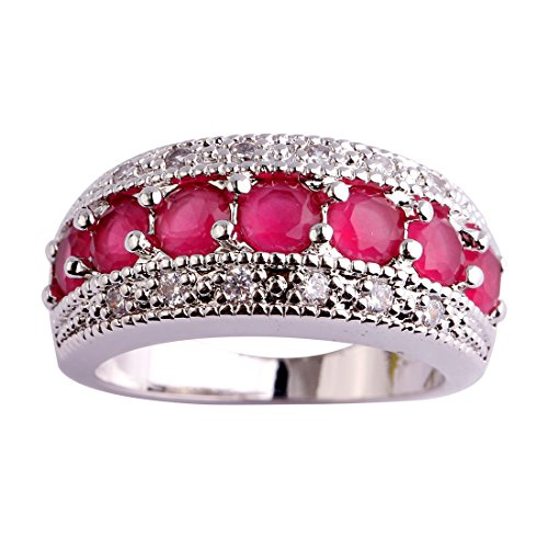 (Psiroy 925 Sterling Silver Created Ruby Spinel Filled Half Eternity Band Ring Size 10)