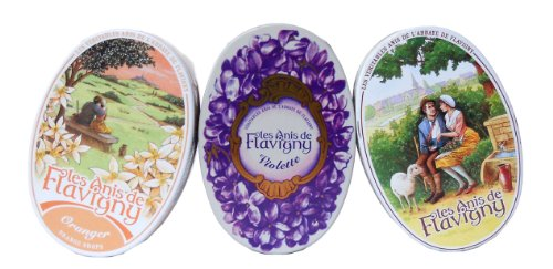 Anis De Flavigny - Orange, Anise and Violet Flavored Candies From France 3 Pack -