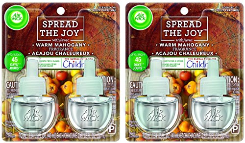 Air Wick Scented Oil Refills - Holiday Collection 2017 - Spread The Joy - Warm Mahogany Fragrance - 2 Count Oil Refills Per Package - Pack of 2 (Six Pines Halloween 2017)