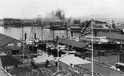 (Alameda, California - View of Shipping Docks (12x18 Art Print, Wall Decor Travel Poster))
