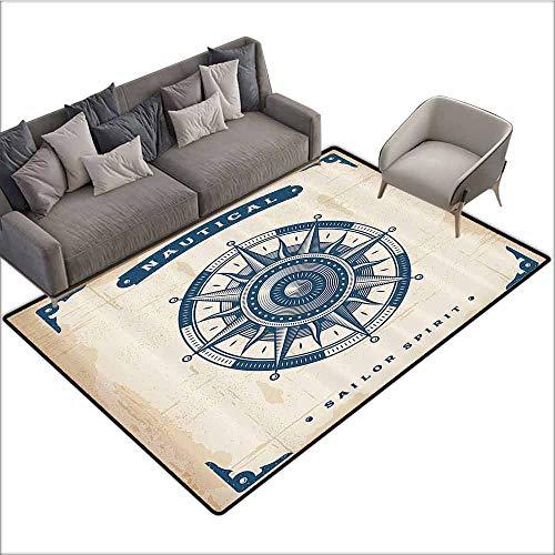 Floor Mat Entrance Doormat Compass Decor,Illustration of Globe with Scale Arrows Measurement Traveling Exploration Journey,Petrol Blue 36