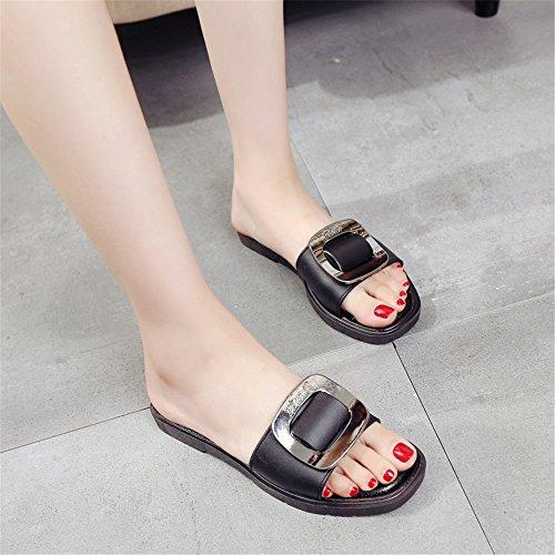 LIVY 2017 verano nueva hebilla de cinturón de Europa y América del metal de la manera hebilla zapatillas zapatillas al aire libre Negro
