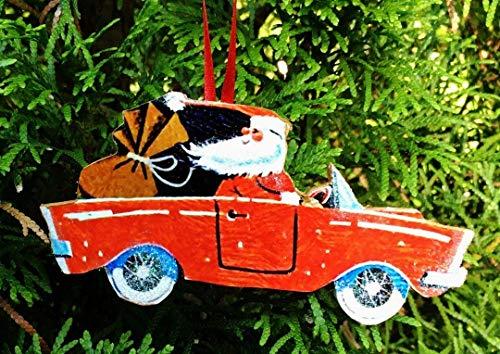 (Santa Driving Car Ornament, Handcrafted Wood, Christmas Mid-Century Modern, 1950s Decor, Sports Car, MG, Porsche Grab Bag Gift, Husband Gift)
