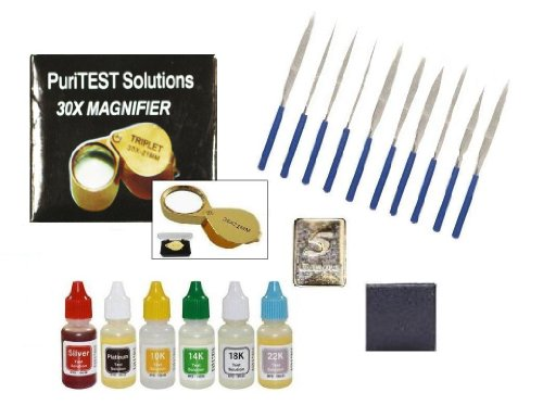 - PuriTEST New Gold, Silver & Platinum Testing Kit 6 Fresh Acid Bottle Solutions + 10pcs File Set + 10x Eye Loupe + 5GN Pure Silver Test Bar