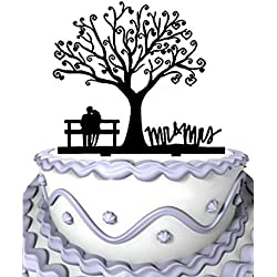 Meijiafei Cherry Blossom Tree The Bride and Groom Sit in Chair Script Mr&Mrs Wedding Cake Topper