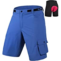 qualidyne Men's Mountain Bike Shorts 3D Padded Lightweight MTB Cycling Shorts with Loose Fit -Quick Dry