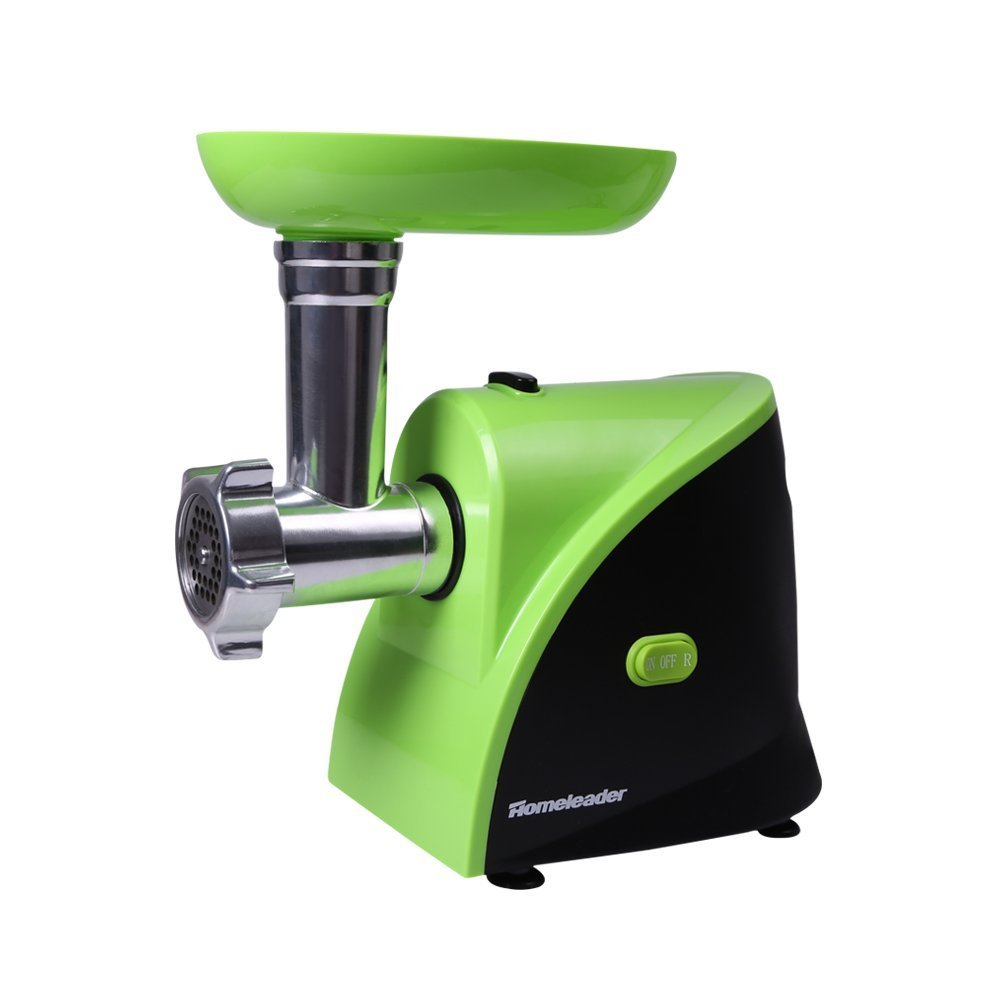 Homeleader Electric Meat Grinder, Meat Mincer with 3 Stainless Steel Cutting Plates and 3 Sausage Stuff Makers, Green