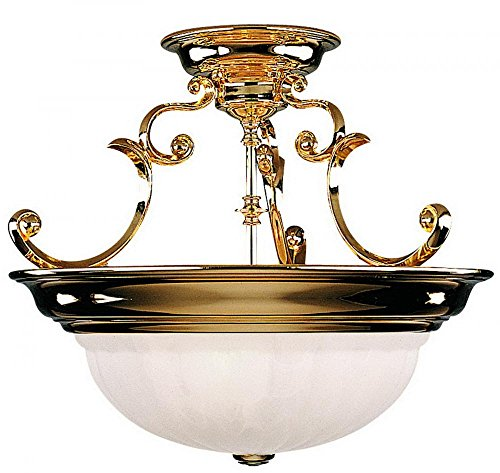 Dolan Designs 525-14 Richland 3 Light Semi Flush mount, Polished Brass