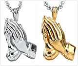 "Women Men's Stainless Steel Praying Hands Religious Pendant Necklace Free 24"" Chain"