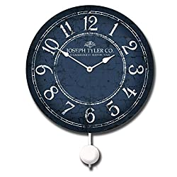 Blue & White Pendulum Wall Clock, Available in 5 sizes, Whisper Quiet, non-ticking