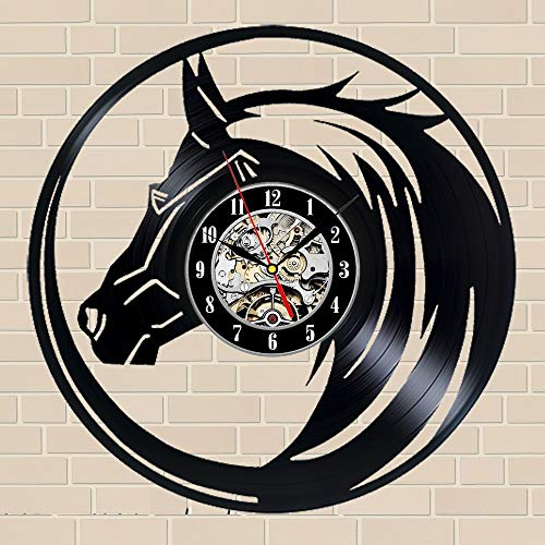 (Horse Gift Wall Clock Vinyl Record Art Decor)