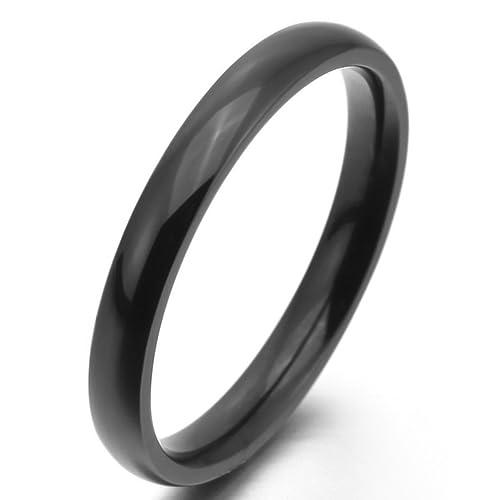 MunkiMix Ancho 3mm Acero Inoxidable Anillo Ring Banda Venda Negro Alianzas Boda Talla Tamaño 9 Hombre
