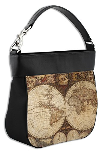 Genuine w Vintage Map Leather Purse Trim Hobo Front World OwwRnTqA