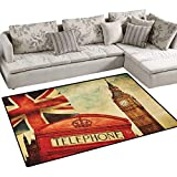 London,Floor Mat,Vintage Style Symbols of London with National Flag UK Great Britain Old Clock Tower,Rugs for Bedroom,Multicolor Size:48'x70'