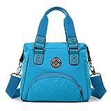 TianHengYi Women's Water Resistant Nylon Double Top Handle Tote Handbag Girls Crossbody Shoulder Bag