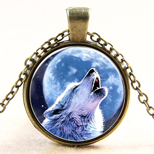 Howling Wolf Necklace Pendant Charm Gemstone Jewelry (Fan Pendant Necklace)
