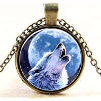 Howling Wolf Necklace Pendant Charm Gemstone Jewelry