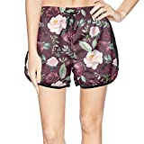 XULANG Womens Wine Floral Leaves Beach Shorts Surfing Swimming Breathable Boardshorts