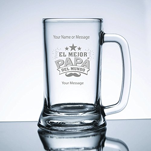 Engraved El Mejor Papa Del Mundo Beer Mug with Your Message by The Decorated Gift