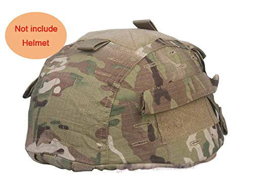 H World Shopping Tactical Airsoft Paintball Helmet Cover With Back Pouch for MICH2002 Ver2 Multicam MC (Best Helmet Cam For Paintball)