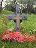 JF MALL Solar Lighted Cross - The Perfect Memorial Decoration for Your Loved One That Automatically Lights Up at Night Without Wiring or Upkeep