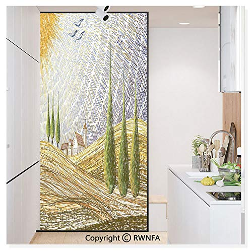 - Decorative Window Films Kitchen Glass Sticker Van Gogh Style Italian Valley Rural Fields with European Scenery Digital Painting Artsy Print Waterproof Anti-UV for Home and Office 11.8