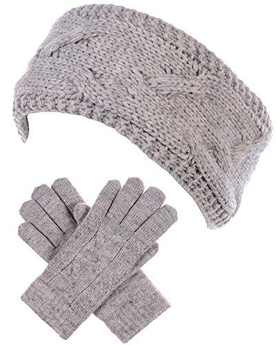 BYOS Winter Chic Plush Sherpa Fleece Lined Knitted Gloves & Headband Wrap Ear Warmer Set (Cable Knit Heather Dk. Beige)
