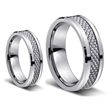 His & Her's 8mm/6mm Tungsten Carbide Wedding Band Ring Set with Silver Carbon Fiber Inlay