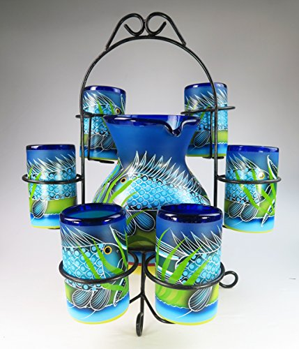 - Mexican Glasses and Pitcher set, Hand Blown, Hand Painted, Blue with Fish in the Sea design with display rack