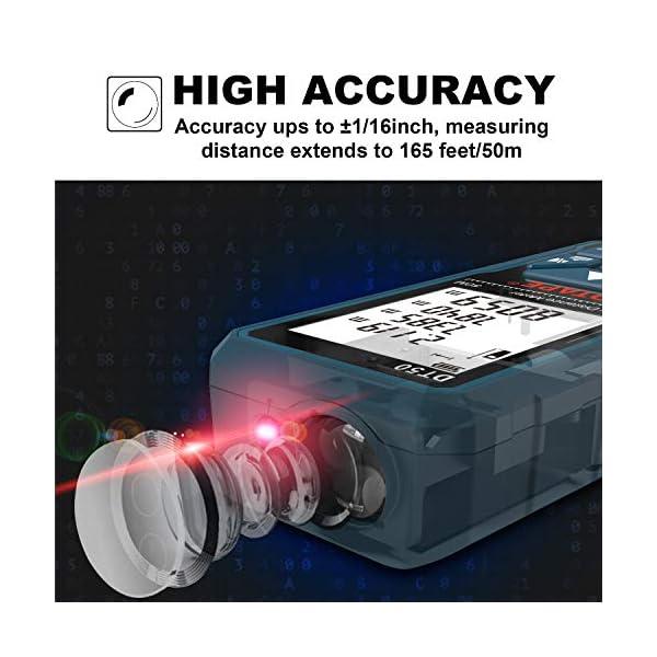 Misuratore Laser,DTAPE DT50 Metro Laser Telemetro Laser Distanziometro 50M/165ft,Manometro Portatile Strumento di Misurazione Della Portata Digitale,Display LCD a 4 Righe Retroilluminato più IP54 6 spesavip