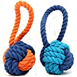 Dog Ball Toy,Dog Interactive Rope Chew Toys Durable Teeth Cleaning Throw and Tug War Plays for Medium to Large Breeds and Puppies (Orange) ¡­
