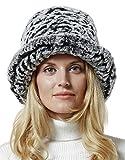 Nice Glory Women's Rex Rabbit Fur Folded Brim Knit Bucket Hat Grey Snow-top