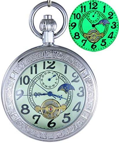 懐中時計発光ポケットチェーンとレトロ自動機械式トゥールビヨン拡大鏡 (Color : C)