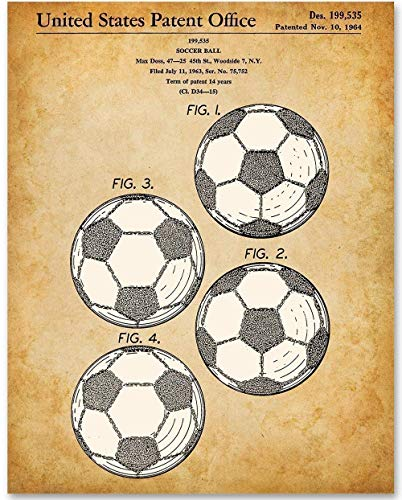 Soccer Ball - 11x14 Unframed Patent Print - Great Gift for Soccer Fans, Soccer Players and Boy's Room - Cup Soccer Pictures World
