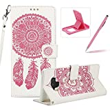 Strap Pu Leather Case for Samsung Galaxy Note 9,Wallet Flip Cover for Samsung Galaxy Note 9,Herzzer Classic Elegant Book Style [White Pink Wind Chime] Embossed Slim Fit Stand Leather Folio Pouch Protective Mobile Cellphone Case for Samsung Galaxy Note 9