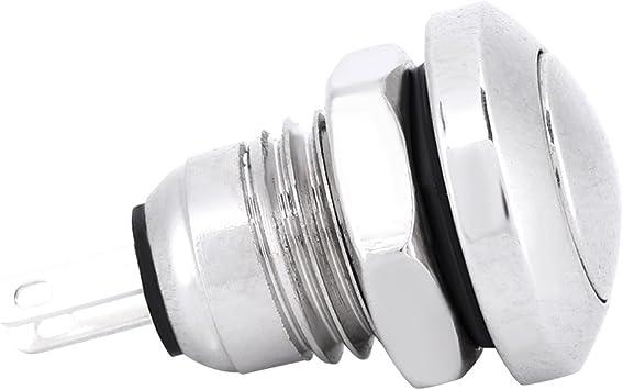 Qiilu Momentary Push Button Switch 1A 24V 8mm 3//10 Mini Waterproof Car Momentary Button Power Switch Aluminium Alloy Black Shell