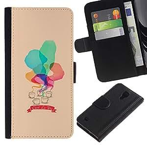WINCASE (No Para S4 Mini) Cuadro Funda Voltear Cuero Ranura Tarjetas TPU Carcasas Protectora Cover Case Para Samsung Galaxy S4 IV I9500 - c'est la vie melocotón acuarela
