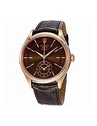Rolex Cellini Automatic Men's 18K Everose Gold Leather Watch 50525BRSBRL