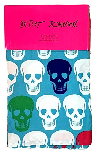 Betsey Johnson Multicolor Skull Party Fabric Shower Curtain 72x72