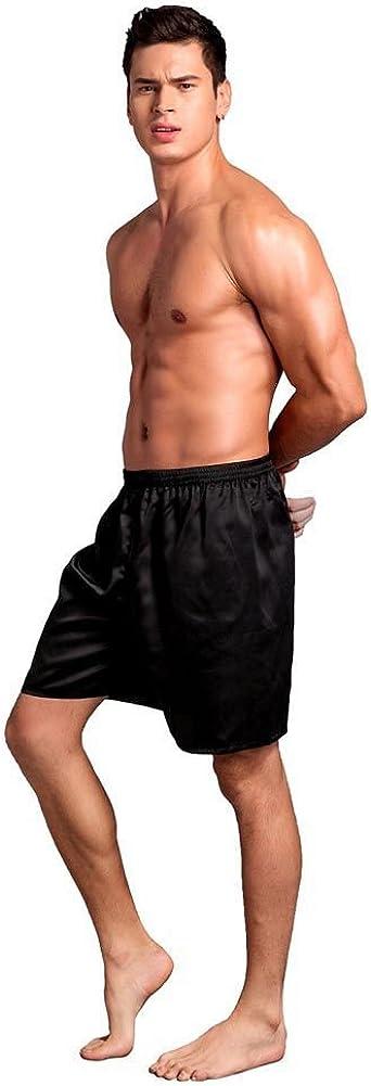 Bornbayb Mens Solid Silk Satin Boxers Shorts Beach Shorts Loose Pajama Short Pants