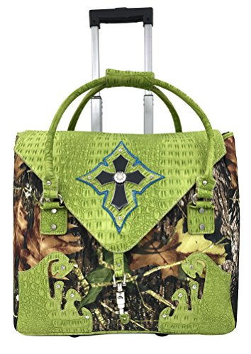 Cross Shoulder Organizer (Y.C. Laotop Trolley Camouflage Carryon Cross Stationery Organizer Rolling Bag (Green))