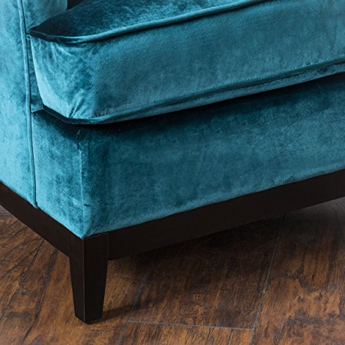 Amazon.com: Anabella | Velvet Button Tufted Club Chair | In Teal Blue:  Kitchen U0026 Dining