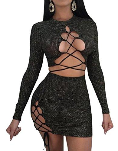 Pivaconis Women Reversible 2 Piece Hollow Out Crop Top Skirt Sexy Club Suit Set Black S ()