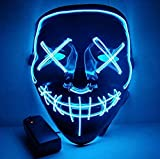 Moonideal LED Light up Mask Festival Parties Frightening Wire Halloween Sound Induction Flash with Music (Light Blue)