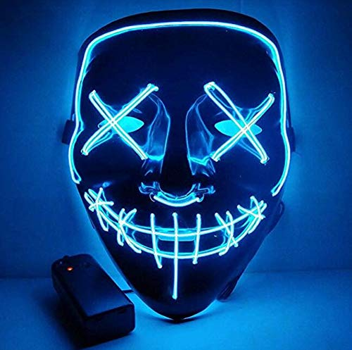 Moonideal LED Light up Mask Festival Parties Frightening Wire Halloween Sound Induction Flash with Music (Light Blue) -