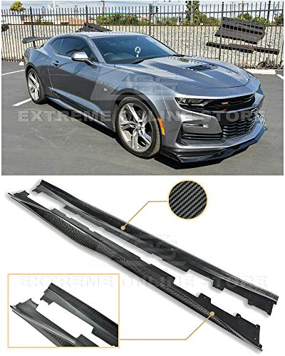 Extreme Online Store Replacement for 2019-Present Chevrolet Camaro RS & SS | ZL1 Style Carbon Fiber Rocker Panel Side Skirts Extension Pair ()