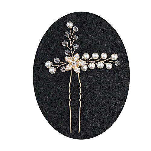 Women Hairpins Hair Clips Headpieces Wedding Hair Jewelry Accessories Crystal Pearls Hair Forks for Bridal Hairstyle